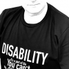 """Simon Mark Smith wearing his """"Disability, it's a part of life"""" T shirt"""